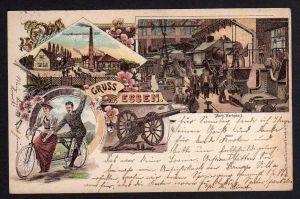 Ansichtskarte Essen 1899 Litho Kruppstahlwerk Tandem Fahrrad