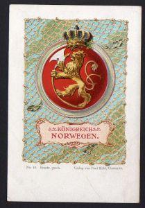 Ansichtskarte Königreich Norwegen Wappen Fahne Flagge um 1900