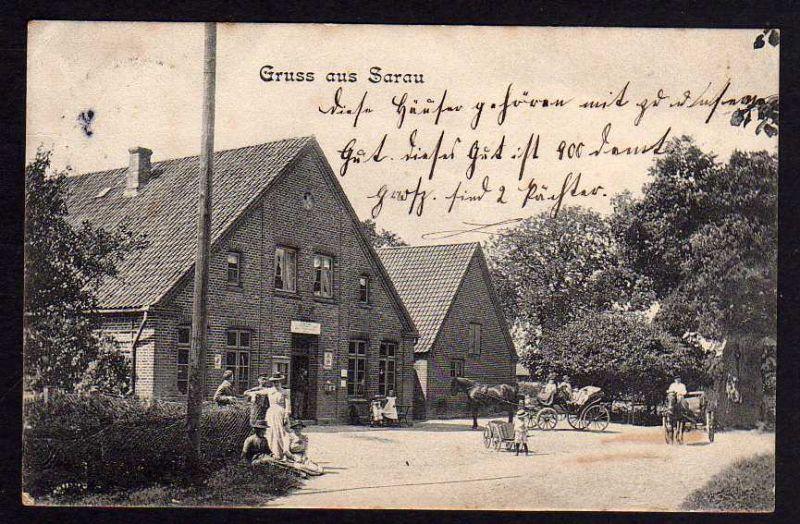 Ansichtskarte Sarau 1906 Ahrensbök 2 Häuser Kutsche