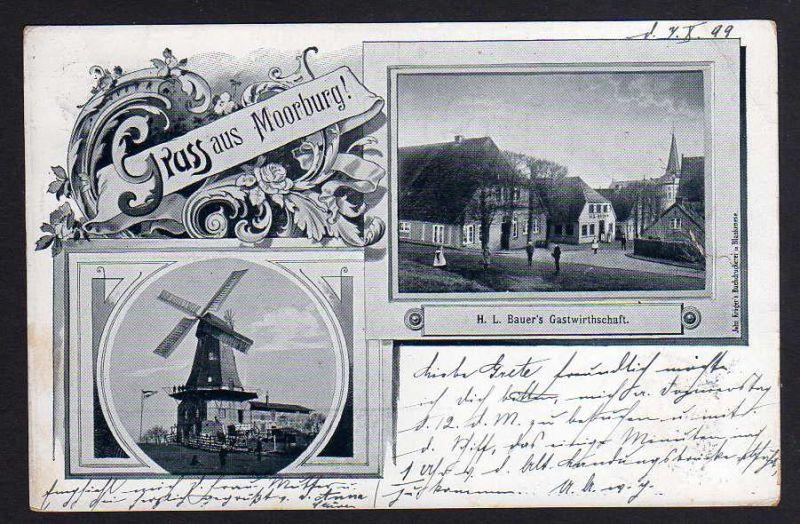 Ansichtskarte Hamburg Moorburg Windmühle Mole Bauers Gastwirtschaft 1899
