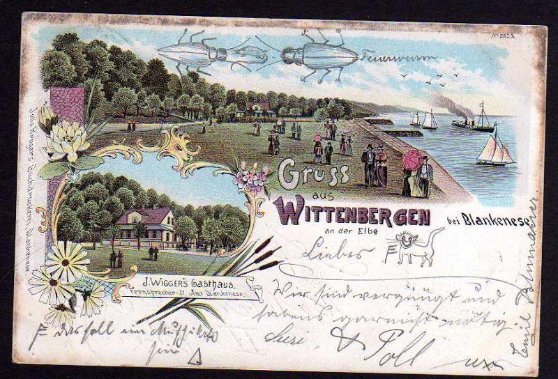 Ansichtskarte Hamburg Wittenbergen Rissen Wiggers Gasthaus Litho 1899 Blankenese