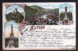 Ansichtskarte Altena Litho 1897 Bismarck Denkmal Schloss Krieger Denkmal
