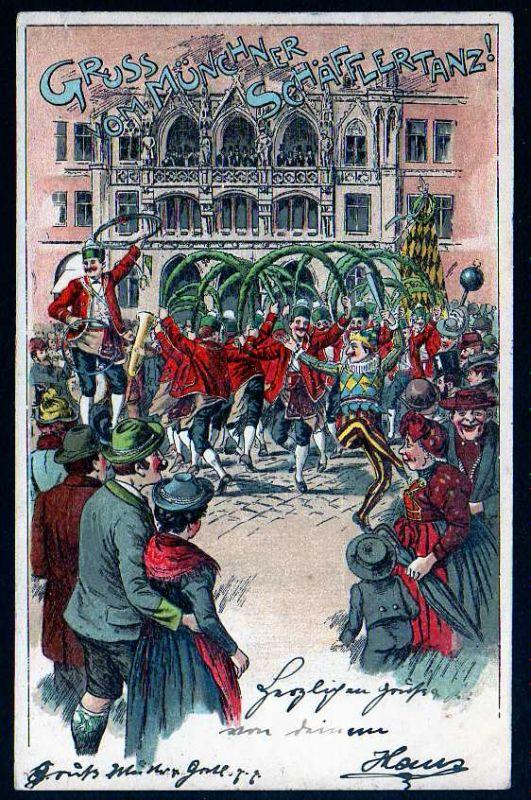 Ansichtskarte Schäfflertanz Fassküfer Fasshersteller München 1900 Litho