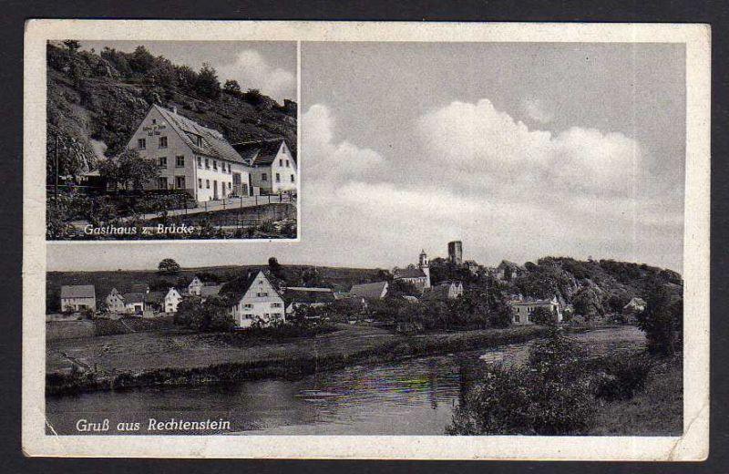 Ansichtskarte Rechtenstein Gasthaus zur Brücke Bes. Josef  Miller