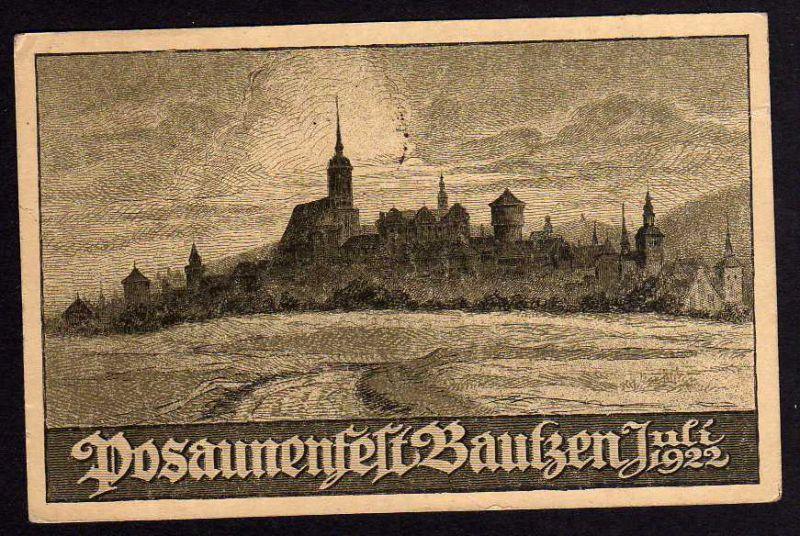 Ansichtskarte Bautzen 1922 21. Posaunenfest viele Unterschriften