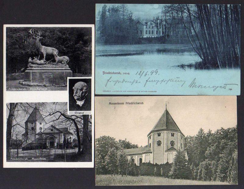 3 Ansichtskarte  Friedrichsruh Mausoleum Schloss 1899 1924 1938 Bismarck Aumühle