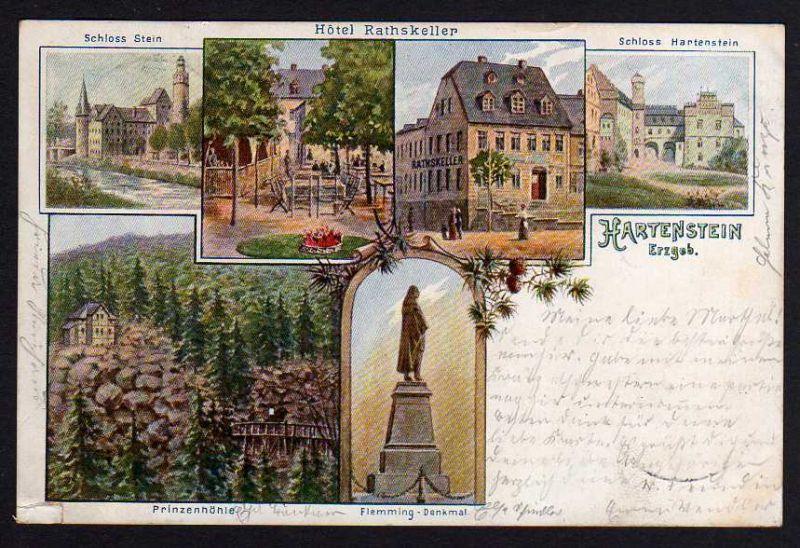 Ansichtskarte Hartenstein Erzg. 1900 Sachsen Hotel rathskeller Flemming Denkmal
