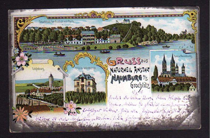 Ansichtskarte Grochlitz Naumburg (Saale) Litho 1901 Naturheil Anstalt Schönburg