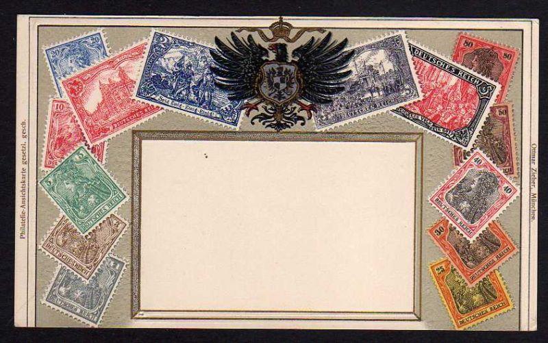 Ansichtskarte Philatelie Ansichtskarte Deutsches Reich Wappen geprägt Passepartout