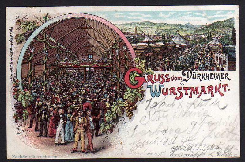 Ansichtskarte Bad Dürkheim Wurstmarkt Litho 1897
