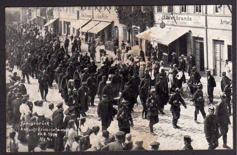 Ansichtskarte Königsbrück Ankunft Kriegsgefangener Franzosen 1914