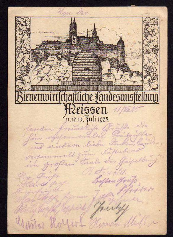 Ansichtskarte Meißen 1925 Bienenwirtschaftliche Landesausstellung viel Unterschriften