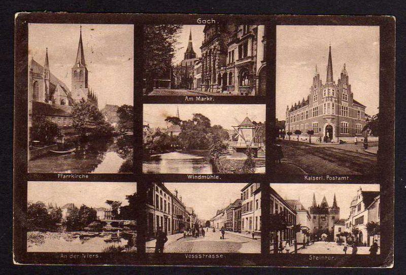 Ansichtskarte Goch bei Düsseldorf 1914 Zensur Windmühle Mole Postamt Vossstrasse ...