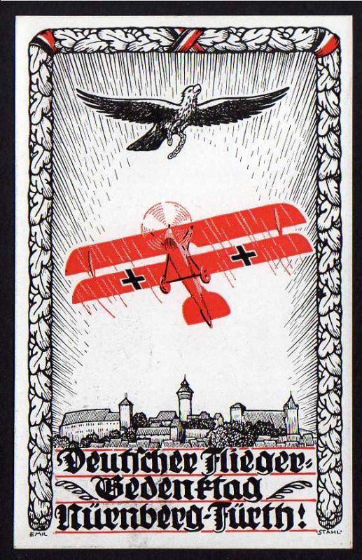 Ansichtskarte Deutscher Flieger Gedenktag Nürnberg Fürth 1924 mit SST
