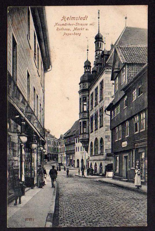 Ansichtskarte Helmstedt Neumärker Strasse Rathaus Markt Papenberg 1909