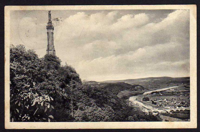 Ansichtskarte Trier 1938 Mariensäule Landpoststempel Herl über Hermeskeil Bz. Trier