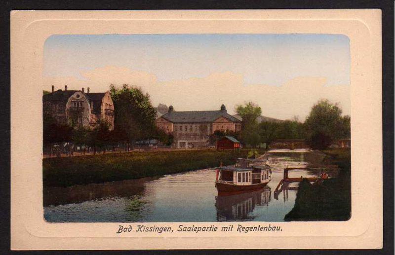 Ansichtskarte Bad Kissingen Saalepartie mit Regentenbau