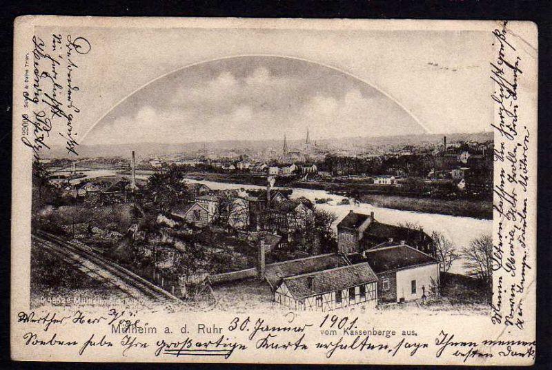 Ansichtskarte Mühlheim Ruhr 1901 vom Kassenberge aus