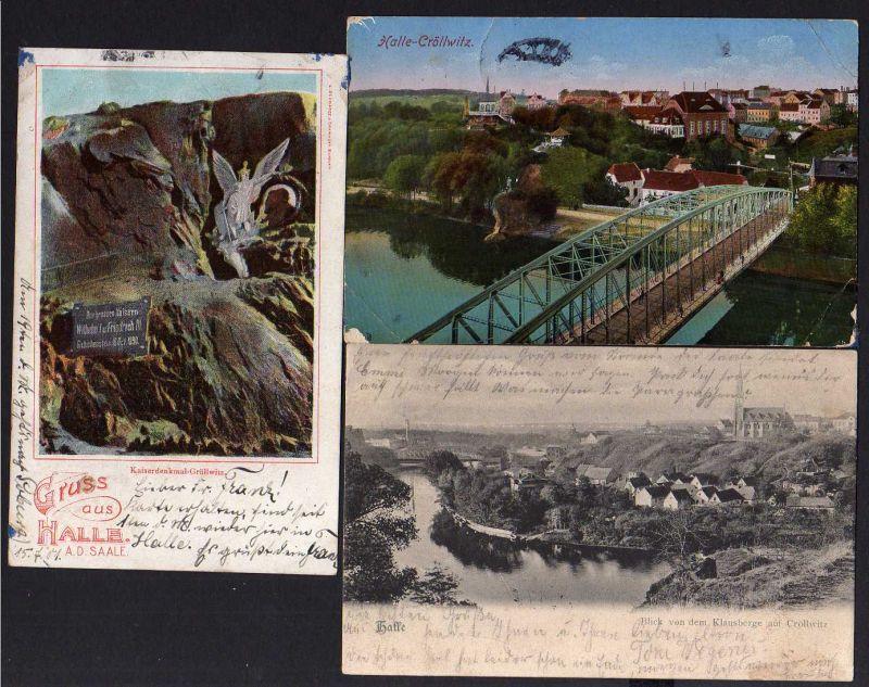 3 Ansichtskarte Halle Saale 1901 1906 1915 Kaiserdenkmal Cröllwitz