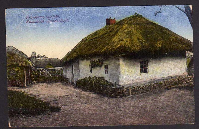 Ansichtskarte Russische Landschaft Bauernhaus Feldpost 1917