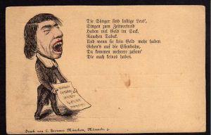 Ansichtskarte Karikatur Sänger Geld im Sack Tabak Eisenbahn