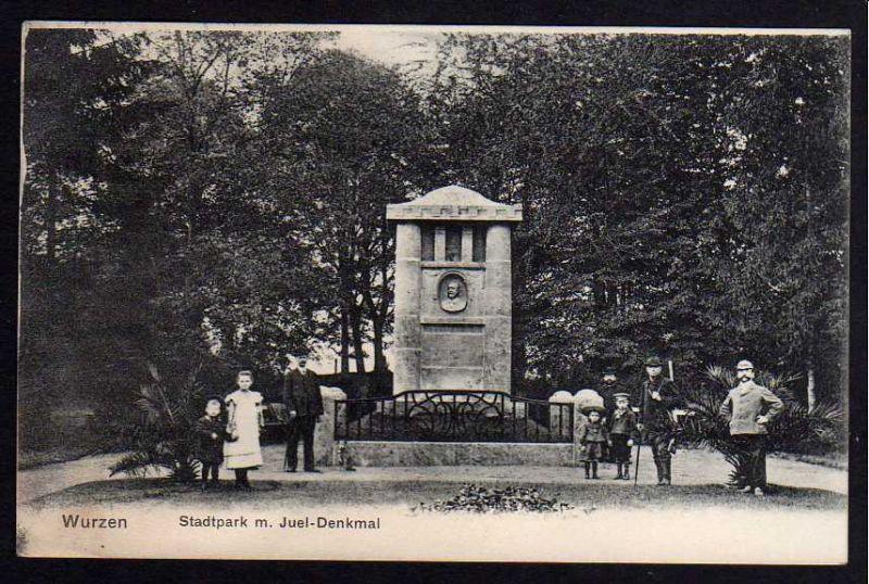 Ansichtskarte Wurzen Stadtpark mit Juel Denkmal 1907 Jäger