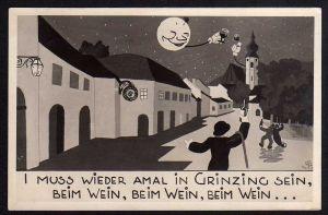 Ansichtskarte Grinzing Wien 1942 Künstlerkartre Wein Mond Weinglas Kirche