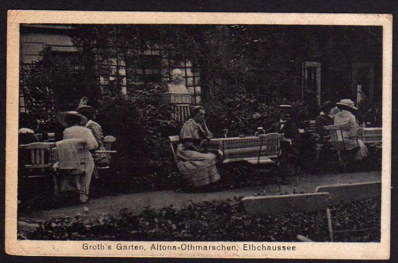 Ansichtskarte Hamburg Altona Othmarschen Elbchaussee Groths Garten 1918