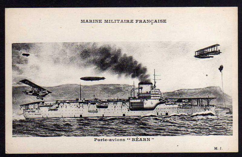 Ansichtskarte Marine Militaire Francaise Porte Avions Bearn Schiff Flugzeugträger
