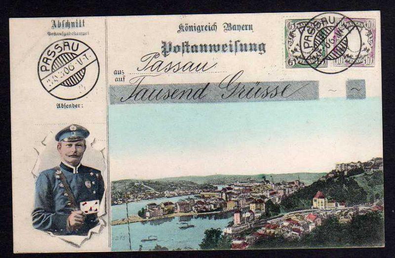 Ansichtskarte Passau Ansichtskarte Postanweisung Postbote Briefträger 1907