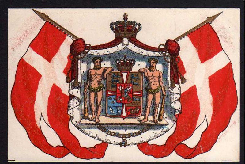 Ansichtskarte Norwegen Fahne Flagge mit Wappen um 1910