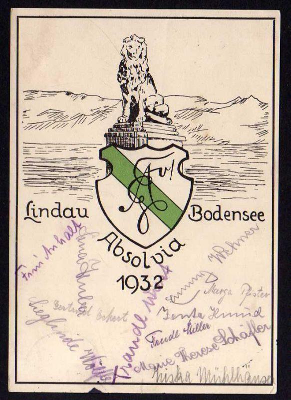Ansichtskarte Lindau Bodensee Absolvia Studentika 1932 viele Unterschriften