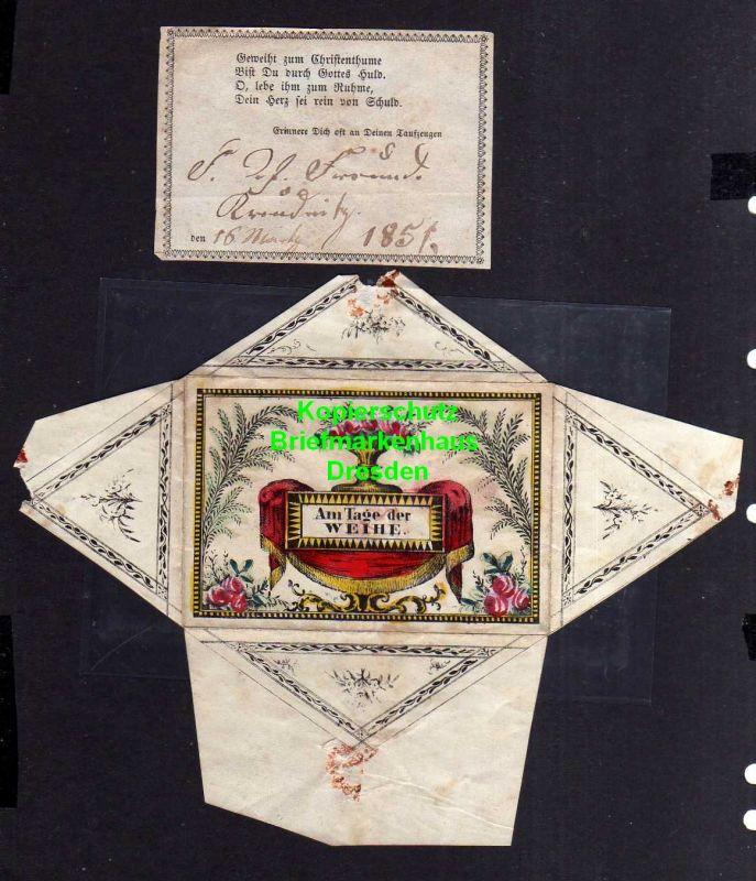 Taufbrief 1851 mit Spruchzettel Patenbrief Geweiht zum Christenthume ...