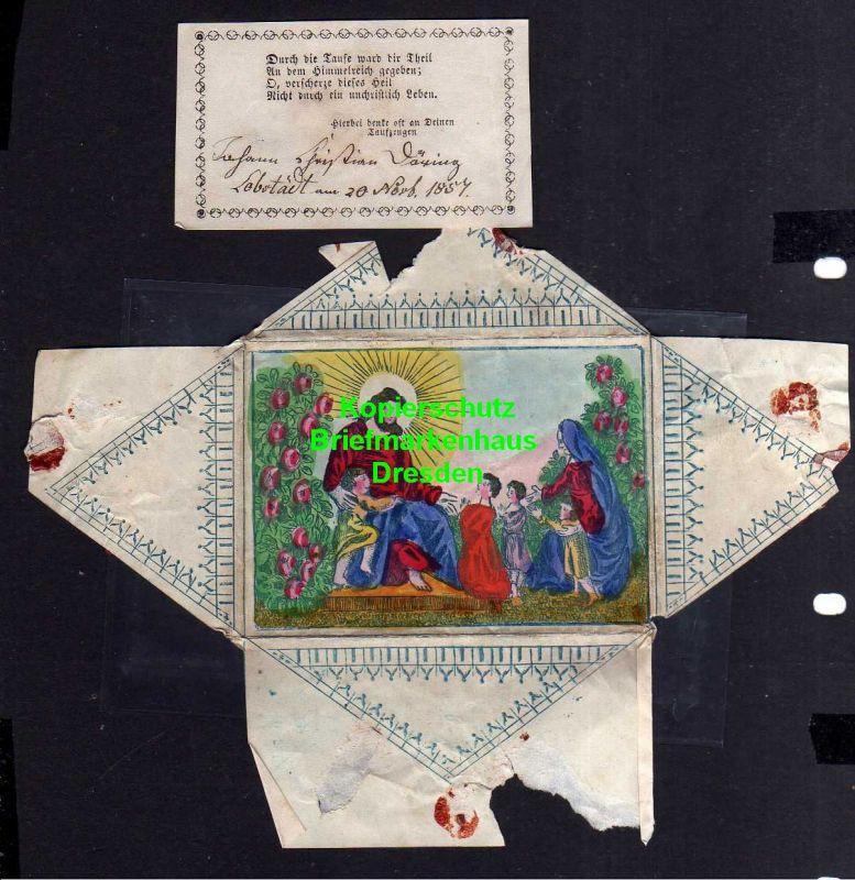Taufbrief 1857 mit Spruchzettel Patenbrief Lobstädt ... Durch die Taufe .
