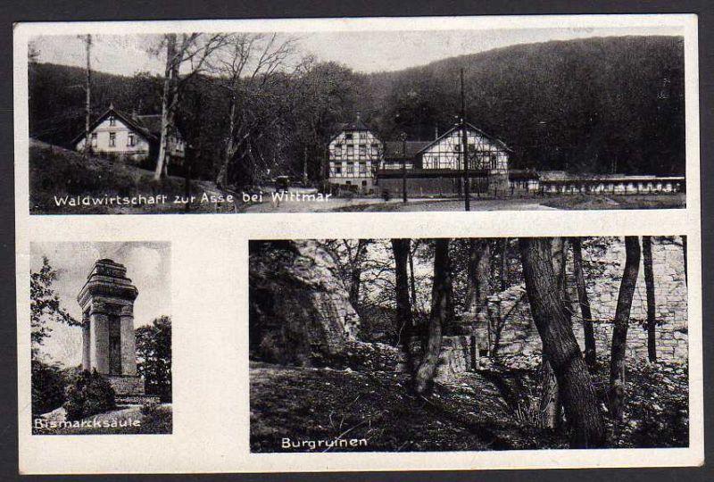 Ansichtskarte Waldwirtschaft zur Asse Wittmar Bismarcksäule