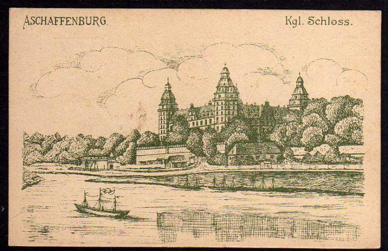 Ansichtskarte Aschaffenburg 1914 Frauenverein Rotes Kreuz
