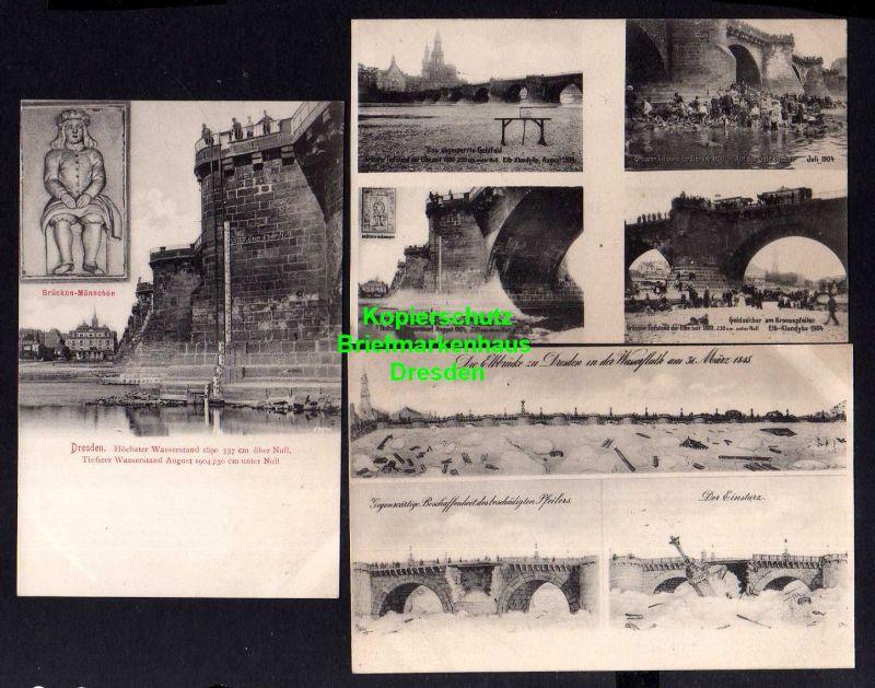 3 Ansichtskarte Dresden 1904 Elb Klondyke Goldlager Hochwasser 1845 beschädigte Brüc