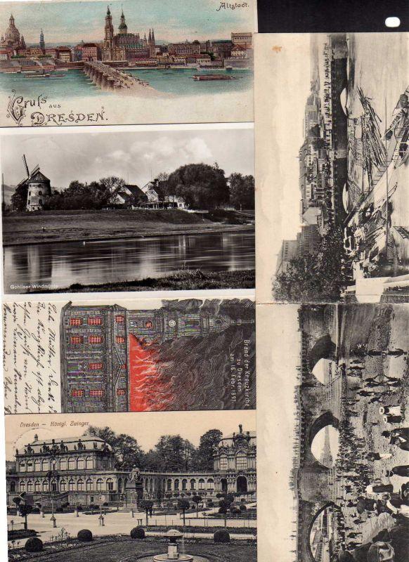 5 Ansichtskarte Dresden Brad der Kreuzkirche 1897 Hochwasser 1890 Niedrigwasser 1904