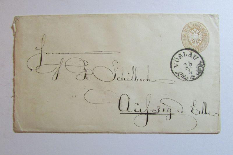 Österreich um 1866 15 Kreuzer Ganzsache Zierstempel Vöslau 23/4 Kammgarn