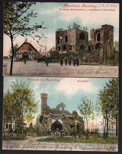 2 Ansichtskarte Düsseldorf Ausstellung 1902 Sect Höhle Weinburg Rüdesheimer