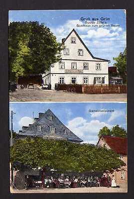 Ansichtskarte Grün Gasthaus zum grünen Baum Gartenrestaurant 1921