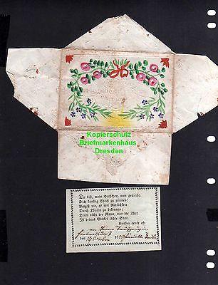 Taufbrief Am Tage der Weihe 1855 mit Spruchzettel Patenbrief
