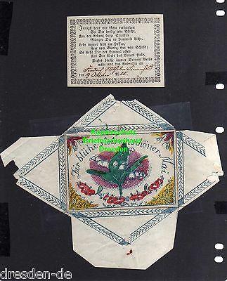 Taufbrief 1855 mit Spruchzettel Patenbrief Mai Maiglöckchen