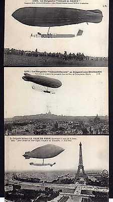 3 Ansichtskarte Frankreich um 1910 Pionierluftfahrt Zeppelin Le Dirigeable Ville de