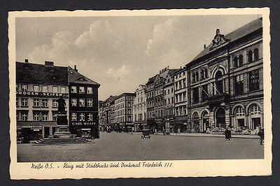 Ansichtskarte Neisse Neiße Nysa Ring mit Stadthaus Denkmal Friedrich 1936