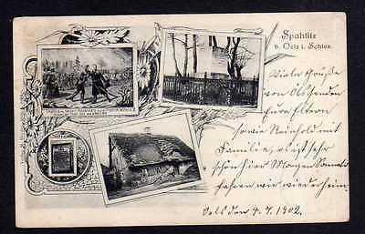 Ansichtskarte Spahlitz Kr. Oels 1902 Spalice Denkmal Altes Haus Empfang Kaiser Alexa