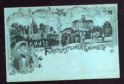 Ansichtskarte Fürstenstein um 1900 Fürstensteiner Grund Alte Burg Neues Schloss Frau