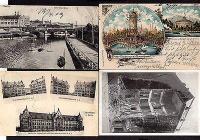 4 Ansichtskarte Berlin Ausstellung 1896 Haupt Restaurant Wasserturm Litho Schöneberg
