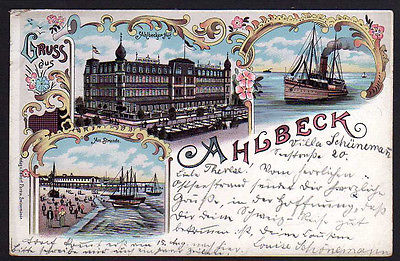 Ansichtskarte Ahlbeck Hotel Ahlbecker Hof Litho 1897 Dampfer