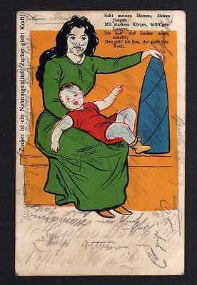 Ansichtskarte Reklame Werbung Zucker ist Nahrungsmittel Zucker gibt Kraft 1901